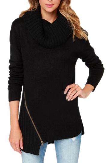 Black Womens Plain Pullover Zipper High Neck Long Sleeves Sweater ...