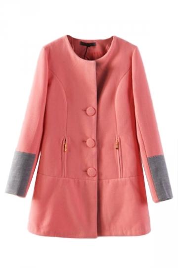 Pink Elegant Womens Patchwork Color Block Trench Tweed