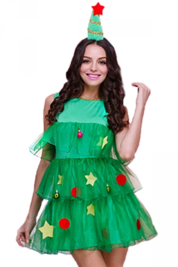 Green cute womens christmas tree pleated elf santa helper