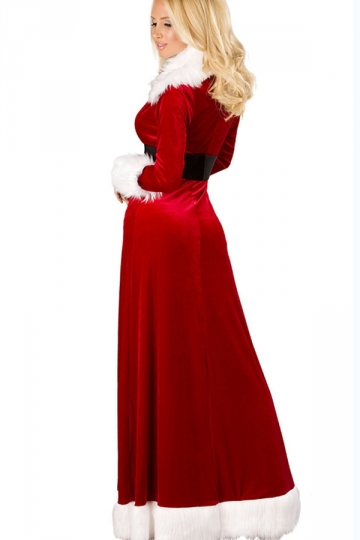 Red Elegant Womens Maxi Split Fur Dress Christmas Santa