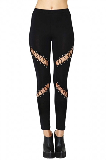 Black Cool Womens Cut Out Cross Lace Up Ripped Leggings