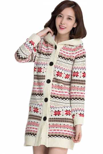Pink Hooded Cardigan Snowflake Christmas Lined Sweater Coat - PINK ...