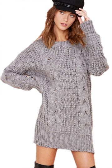 Gray Ladies Cable Knitted Crew Neck Plain Pullover Sweater Dress ...