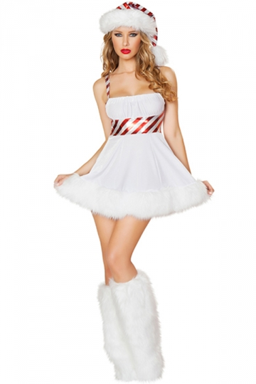 White cute ladies lollipop christmas dress hat snowman