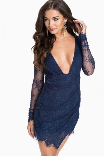 Navy Blue Sexy Ladies Sheer Lace Low Cut Fancy Midi Dress