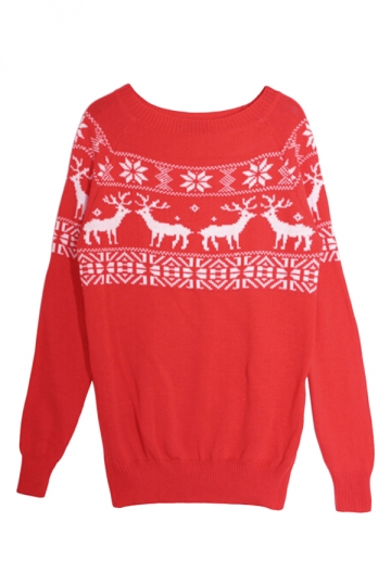 Red Ladies Pullover Crew Neck Reindeer Ugly Christmas Sweater ...