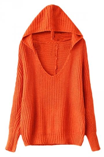 Orange Womens V Neck Plain Pullover Hooded Knit Sweater