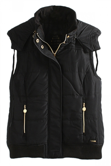 Black Charming Womens Warm Winter Quilted Hooded Vest