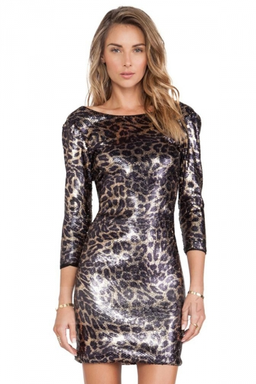 Brown Sexy Womens V Neck Leopard Print Sequin Bodycon