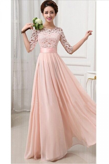 womens lace chiffon pleated half sleeve maxi evening dress pink pink queen. Black Bedroom Furniture Sets. Home Design Ideas
