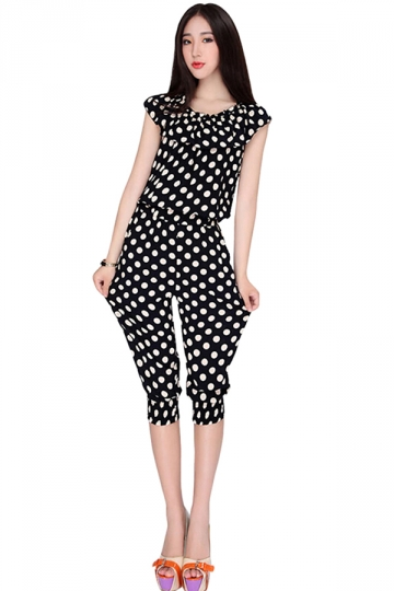 Black Polka Dot Printed 3/4 Length Cowl Neck Womens Jumpsuit ...
