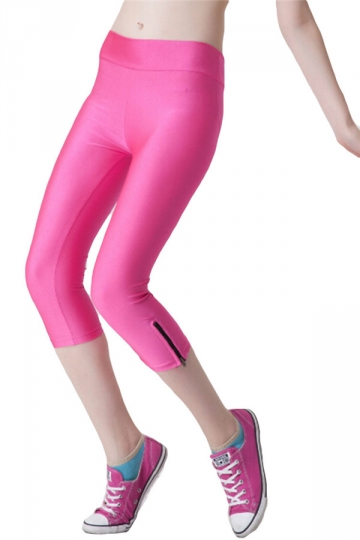 Pink Ladies Candy Color 3/4 High Waist With Zipper Capri Leggings ...