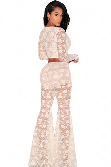 White Lace Sheer Long Sleeve Bell Bottom Ladies Pants Suit ...