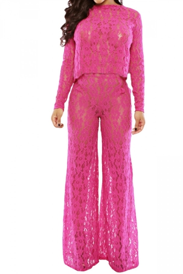 Rose Red Lace Bell Bottom Ladies See Through Pants Suit