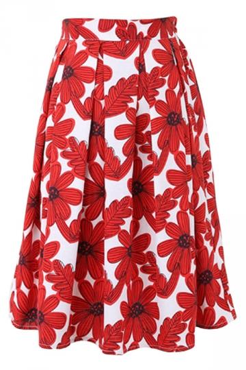 pleated sunflower printed womens midi skirt pink