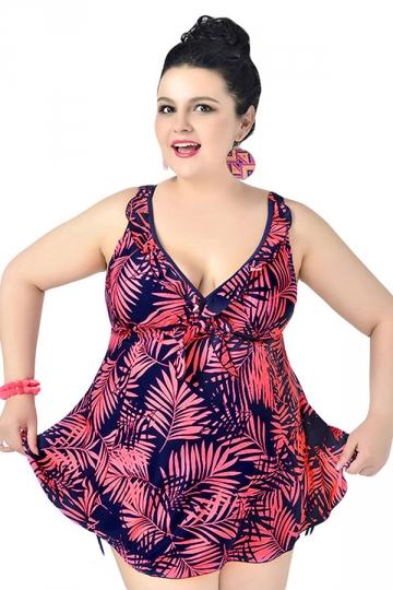 Rose Red Plus Size Floral Printed Swimwear Top Amp Swimwear