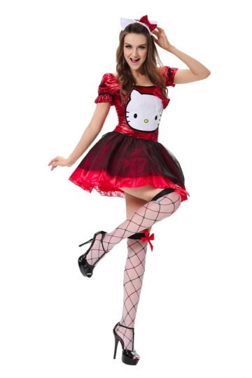 Womens Hello Kitty Halloween Costume Cute Red Pink Queen