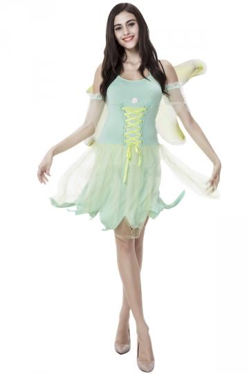 Womens Adult Sexy Fairy Halloween Costume Green Pink Queen