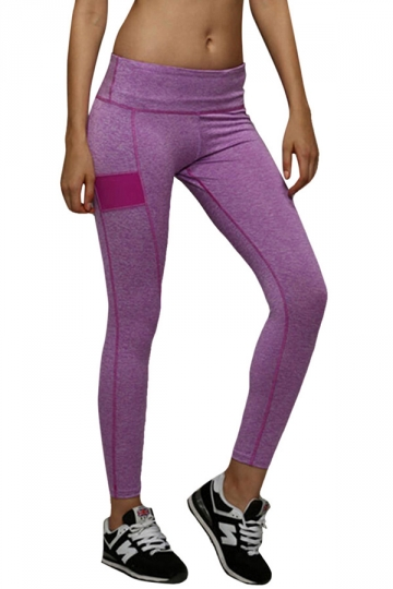 womens elastic seamless splicing sports leggings purple. Black Bedroom Furniture Sets. Home Design Ideas