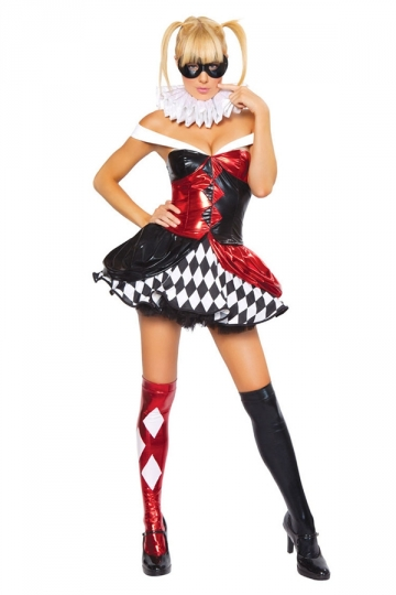 Womens Sexy Color Block Harley Quinn Halloween Costume Red - PINK ...