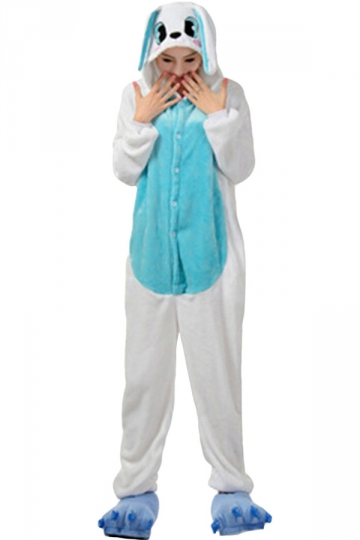 Womens Hooded Hippo Pajamas Onesies Animal Costume Blue
