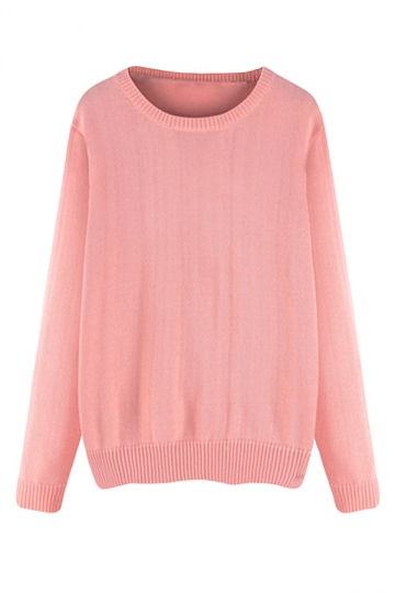 Womens Plus Size Crewneck Long Sleeve Sweater Pink Pink