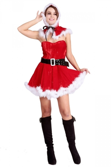 Womens Chic Off Shoulder Santa Claus Christmas Costume Red