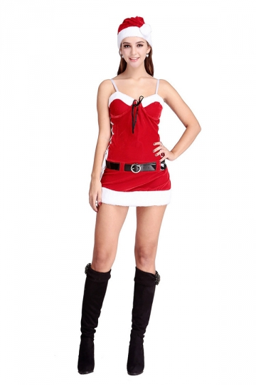 Womens Sexy Strapless Belt Santa Christmas Party Costume