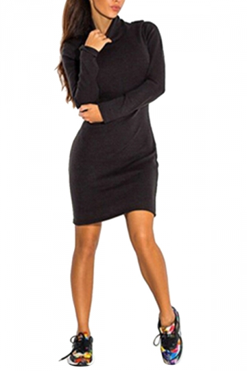 Womens Plain Cowl Neck Long Sleeve Bodycon Knitted Dress