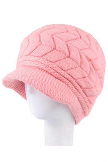 Womens Warm Lined Leaf Pattern Knitted Peaked Cap Rabbit ...