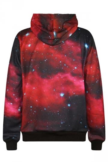 Womens Long Sleeve Galaxy 3d Digital Print Pullover Hoodie