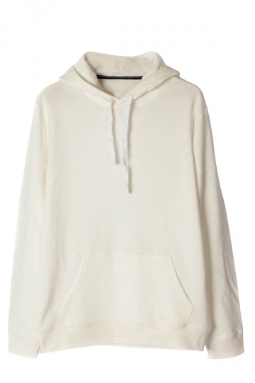 Womens Plain Long Sleeve Kangaroo Pocket Pullover Hoodie Beige ...