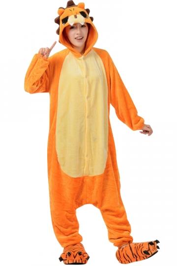 Womens Hooded Onesies Lion Pajamas Animal Costume Orange