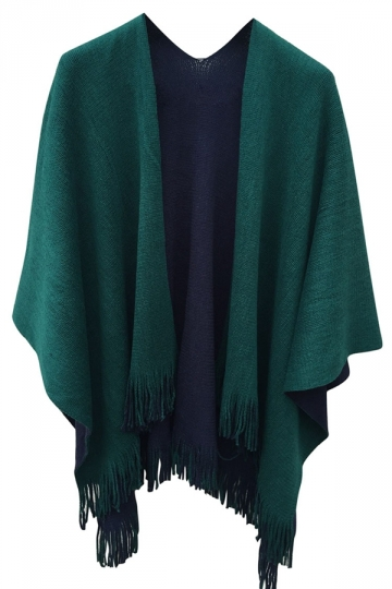 Womens Simple Fringe Shawl Wrap Poncho Green Pink Queen