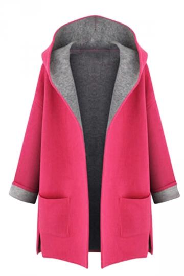 Womens Stylish Plus Size Hooded Cardigan Trench Coat Rose
