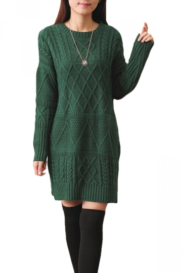 Womens Plain Round Neck Cable Knit Pullover Sweater Dress