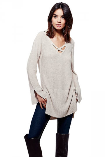 Womens Plain Long Sleeve V Neck Lace Up Pullover Sweater