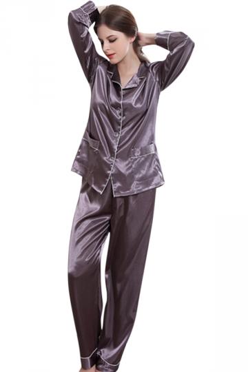 Womens Plain Shirt Collar Long Sleeve Silk Pajamas Set