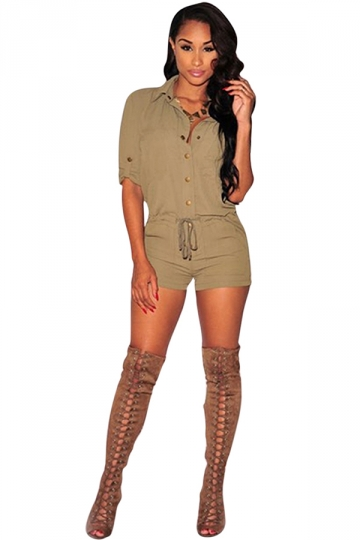 Womens Single Breasted Drawstring Waist Romper Khaki