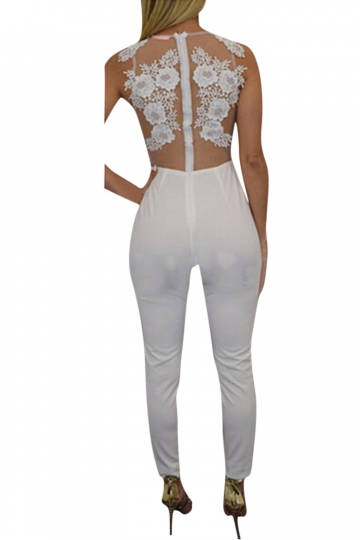 Womens Sexy Sheer Lace Patchwork Sleeveless Bodycon