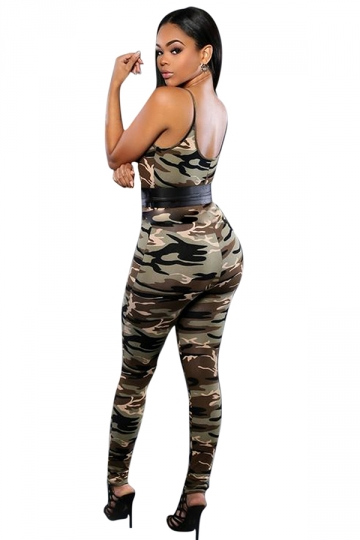 Womens Sexy Camouflage High Waist Backless Jumpsuit Green