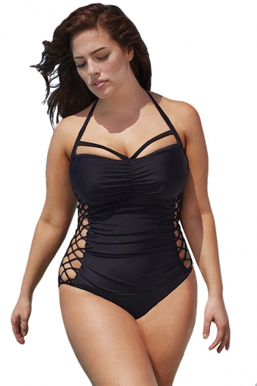 Womens Plus Size Halter Side Cut Out Plain Monokini Black - PINK QUEEN