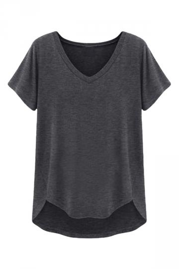Womens casual v neck short sleeve plain t shirt dark gray for V neck black t shirt women s