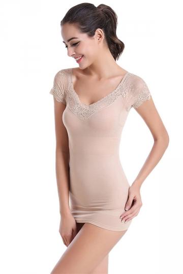 Womens Sexy Lace Patchwork Body Shaper Corset Khaki Pink