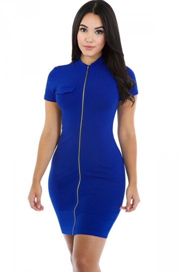 Womens Sexy Zipper Front Short Sleeve Bodycon Dress