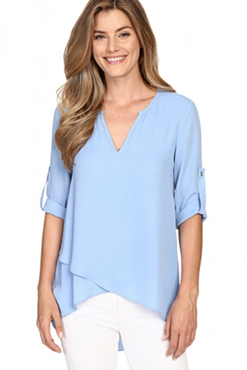 Excellent Hot Fashion Female Elegant Rutterfly Sleeve Light Blue Blouses Round Collar Shirt Ladies Tops ...