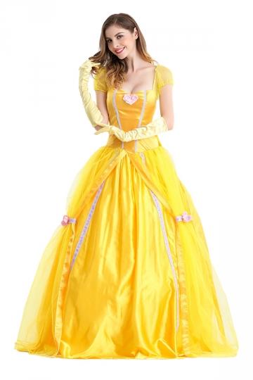 Womens Bow Back Belle Princess Maxi Halloween Costume ...