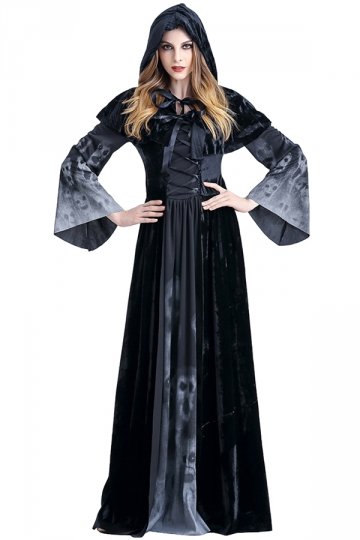 Womens Hooded Lace Up Maxi Halloween Witch Costume Black