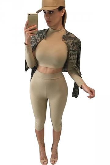 Womens Long Sleeve Crop Top Amp High Waist Cropped Pants Set