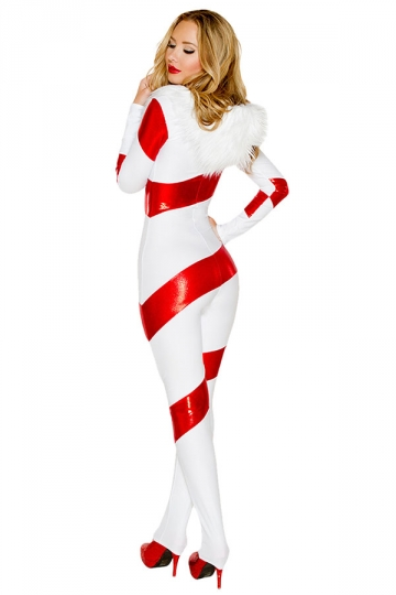Womens Striped One Piece Hooded Christmas Candy Cane